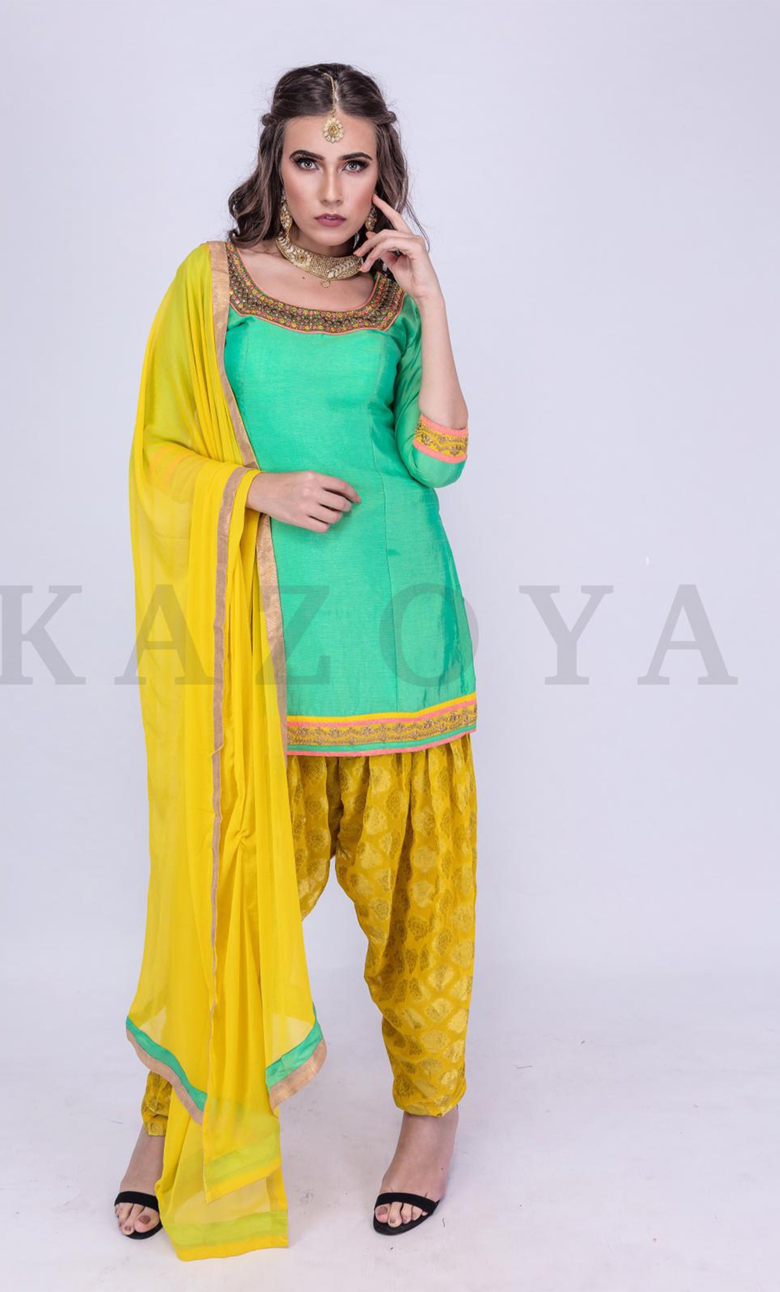 8669782fcfb Yellow Brocade Patiala Salwar Suit with Dupatta - Kazoya