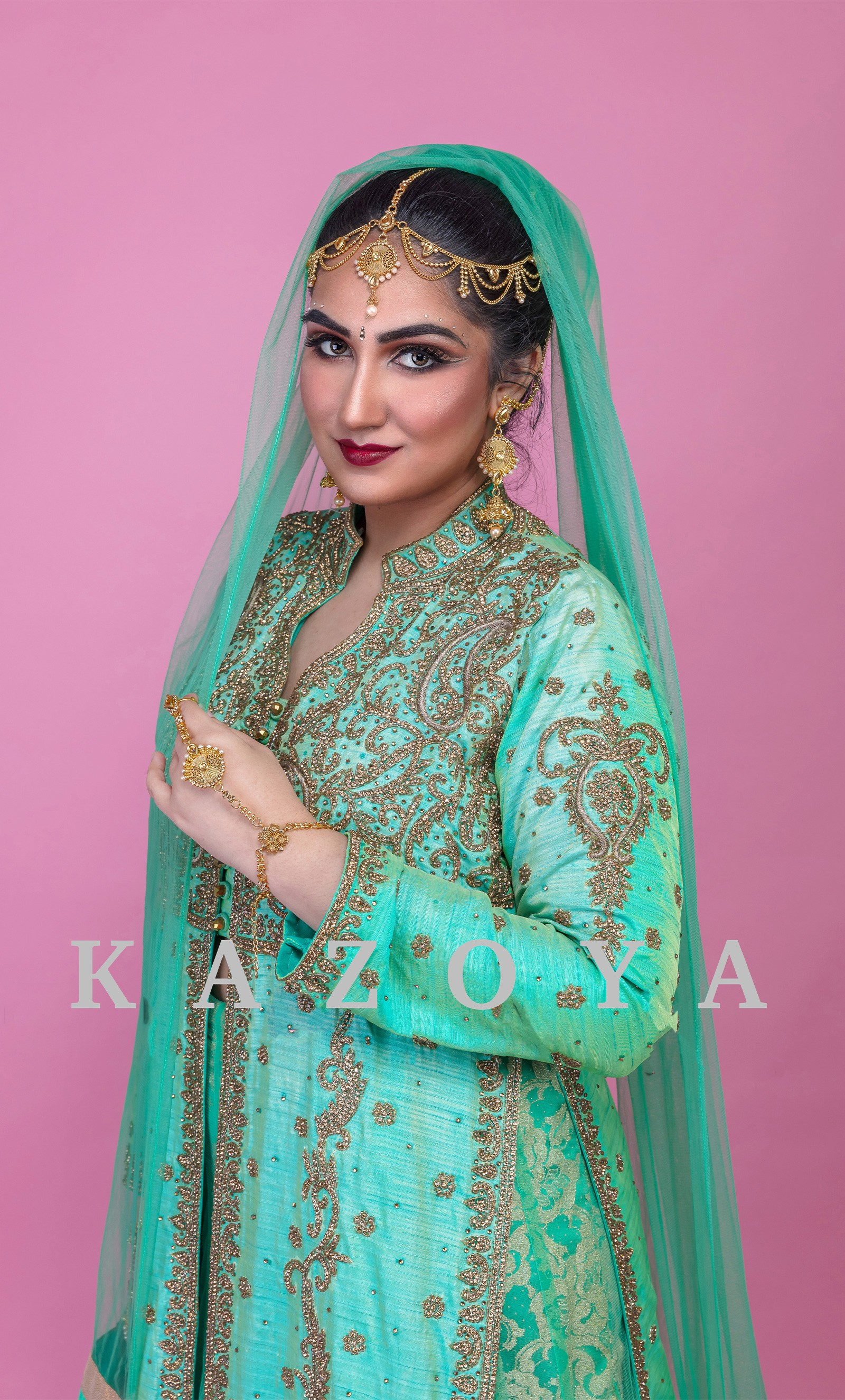 58be28451c Kazoya mint green lengha lacha